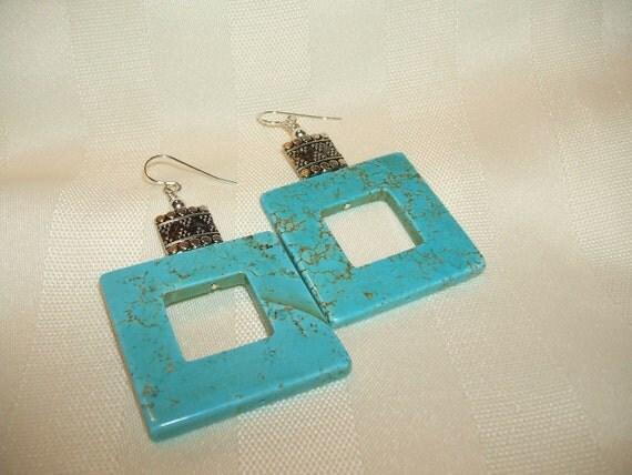 Square Hoop Turquoise Earrings