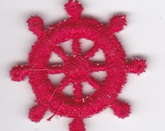 Red Ships Wheel Appliqué - 1 1/4 Inch Diameter Satin Stitched Wheel - Vintage Appliqué Dress - Quilt - Scrap Booking - Jewelry Trim