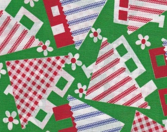"Checks & Stripe Roofed House Print On Green Background - Fabric By The Yard - 29"" X 45"" Remnant  1980's Vintage Fun Material Inventory # 235"