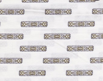 "Shades Of Olive Green Decorative Bars Set On White Background - Cotton Fabric By The Yard 45"" X 42"" - Ideal For Sewing Clothes - # 207"