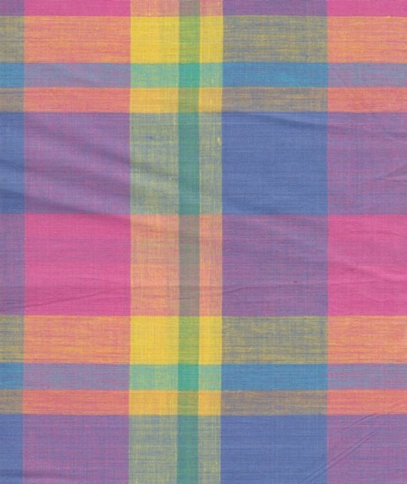 Vintage Pink Yellow Blue Orange Plaid Fabric By The Yard