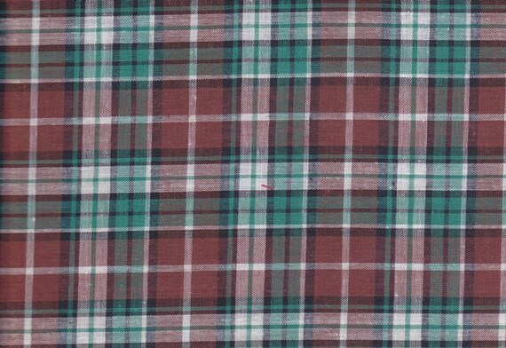 Vintage Teal Brown Plaid Fabric By The Yard 66 Long by