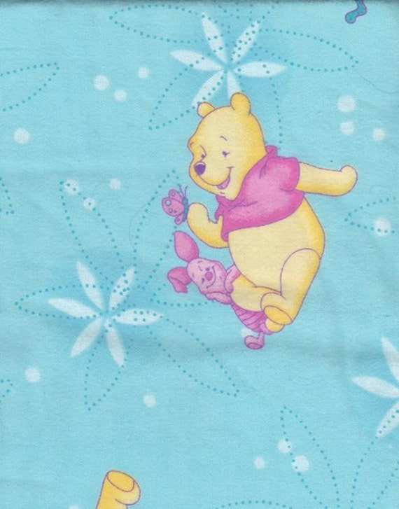 """Winnie The Pooh And Piglet Cotton Flannel Fabric By The Yard - 4 Charm Quilts - Sewing Baby Bibs15"""" x 45"""" Wide Vintage Yardage - Lot 292"""