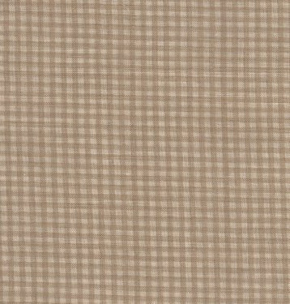 "Tan Ecru Plaid Fabric By The Yard - 36"" x 36"" Cotton - Home Décor - Sewing Yardage - Lot 285"