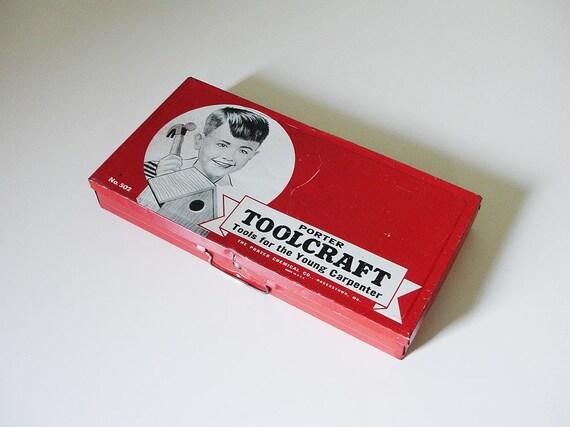 vintage red children tool box
