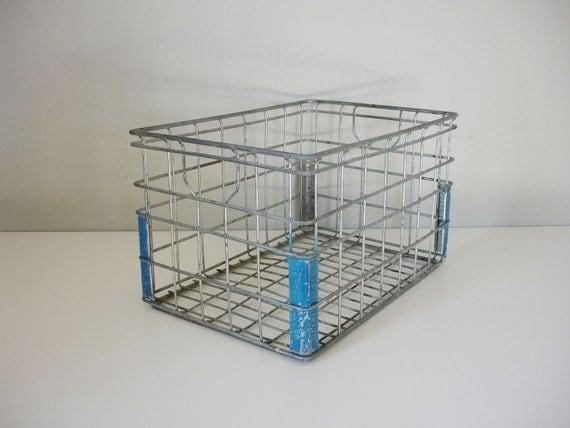 RESERVED vintage metal bottle crate