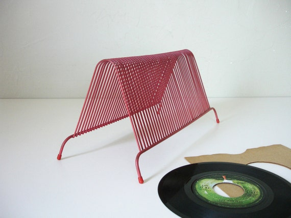 vintage red record rack