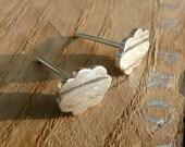CLOUDS : Silver Sterling 925, studs, earrings