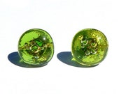 The grass in the sunshine - glass earrings : fusing, hand-made, sterling silver base, green