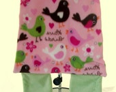 Wearable Baby Blanket on the go with swaddle, hood and sleeves option - pink and green lovebirds mediumweight