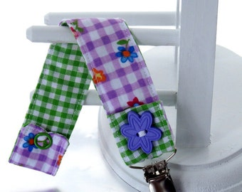 Pacifier Clip with Snaps Double Sided - purple plaid with flowers and green plaid