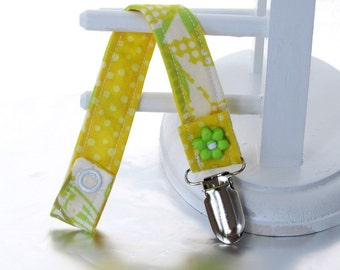 Pacifier Clip with Snaps Double Sided - green, white and yellow/yellow with white polka dots