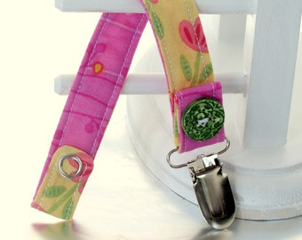 Pacifier Clip with Snaps Double Sided - pink and green flowers on yellow/pink