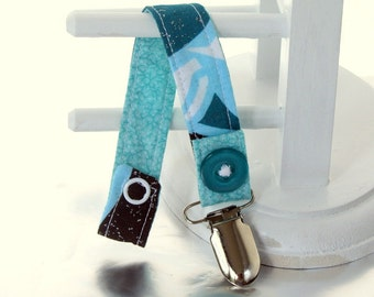 Pacifier Clip with Snaps Double Sided - blue, brown and white glitter/turquoise