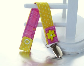 Pacifier Clip with Snaps Double Sided - yellow with white polka dots/pink