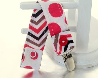 Pacifier Clip with Snaps Double Sided - white with red polka dots/black, white and red stripes