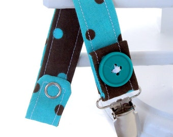 Pacifier Clip with Snaps Double Sided - blue with brown polka dots/brown with blue polka dots