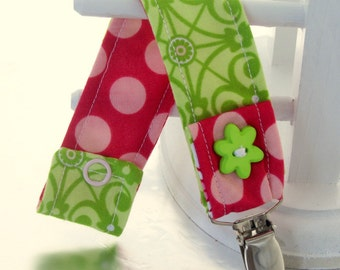 Pacifier Clip with Snaps Double Sided - green and pink/pink polka dots