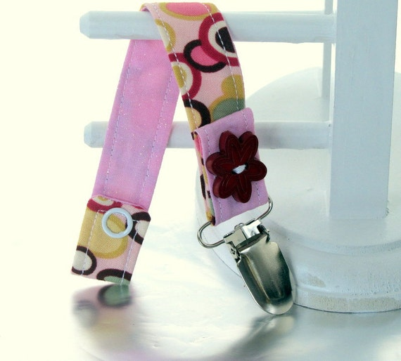 Pacifier Clip with Snaps Double Sided - pink, yelloow and green circles/pink glitter