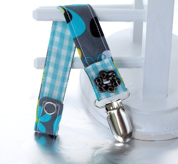 Pacifier Clip with Snaps Double Sided - blue and black flowers on gray/turquoise and white plaid