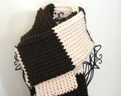Scarf: Chocolate Brown and Beige Stripe