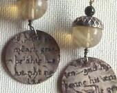 "Sterling silver ""Beowulf"" earrings dangling from Quartz acorns"