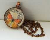 Butterfly Pendant - Orange & Black Copper Glass necklace - 1 inch round