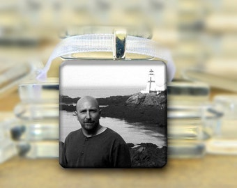 Personalized  Photo Glass Pendant Necklace, #007 Black White Color