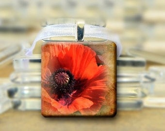 Red Poppy Pendant -  1 inch glass square tile necklace Flower #207
