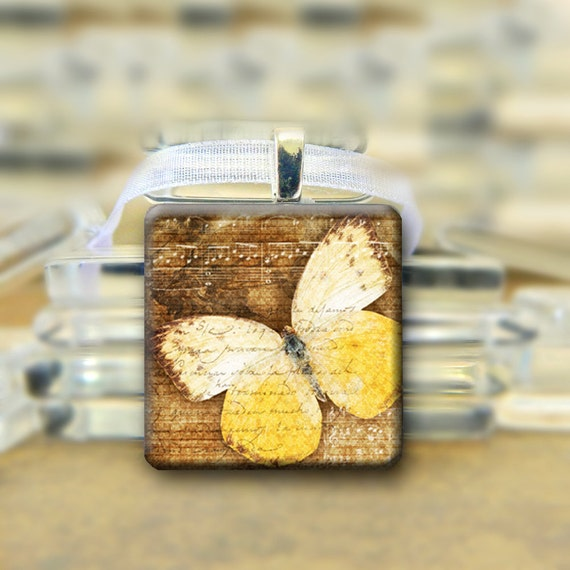 Butterfly Pendant - Yellow & White - with necklace #395