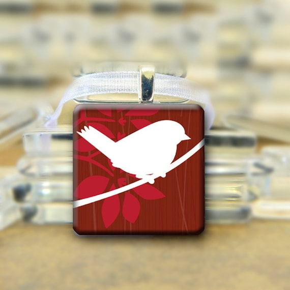 White Bird  on Red Glass Tile Pendant ribbon necklace - 1 inch #611