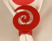 Red Swirl Wooden Napkin Rings - Set of 4