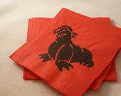 Walrus Paper Cocktail/ Luncheon/ Dinner Napkins - Black and Red
