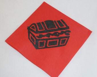 Red and Black Pirate Treasure Chest Cocktail/ Luncheon/ Dinner Napkins