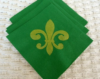 Green and Yellow Fleur De Lis Mardi Gras Cocktail/ Luncheon/ Dinner Napkins