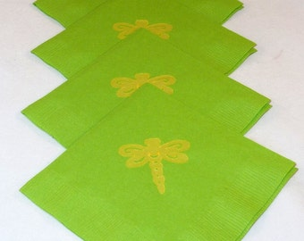 Green and Yellow Dragon Fly Paper Cocktail/ Lunch/ Dinner Napkins