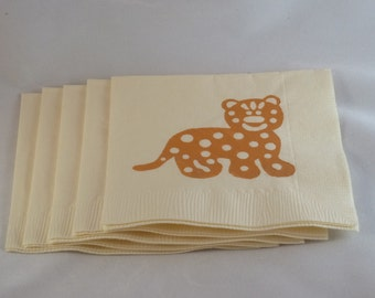 Cream and Tan Leopard Paper Cocktail/ Lunch/ Dinner Napkins