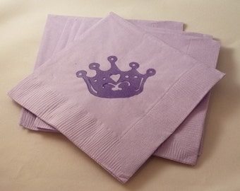 Lavender and Purple Princess Crown Paper Cocktail/ Luncheon/ Dinner Napkin