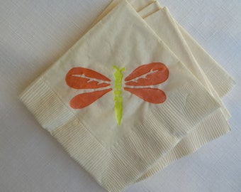 Yellow and Orange Dragon Fly Paper Cocktail Napkins
