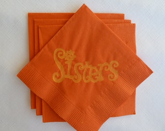 Sisters Paper Cocktail Napkins - Orange and Yellow