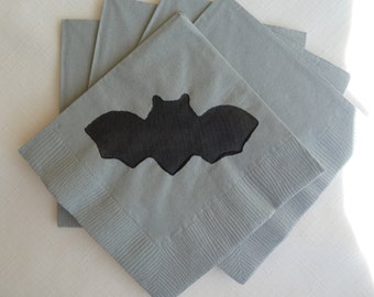 Bat Paper Cocktail/ Luncheon/ Dinner Napkins - Gray and Black