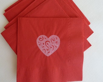 Red and Pink Heart Paper Cocktail/ Lunch/ Dinner Napkins