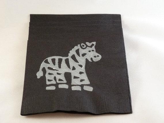 Black and White Zebra Paper Cocktail/ Lunch/ Dinner Napkins