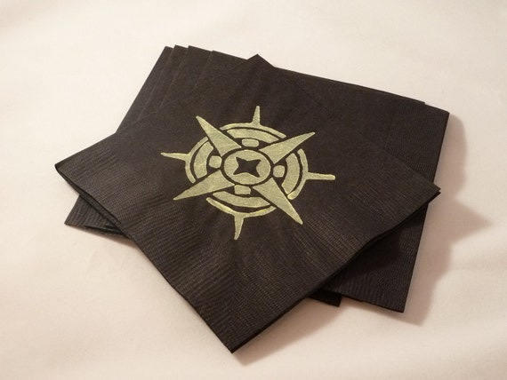 Black and Yellow Compass Paper Cocktail/ Lunch/ Dinner Napkins