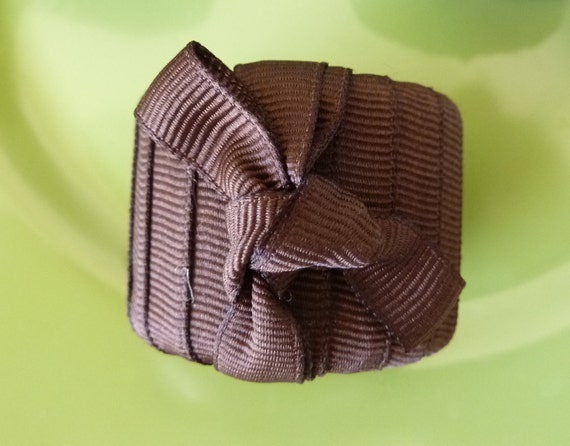 Dark Brown Ribbon Napkin Rings - Set of 4