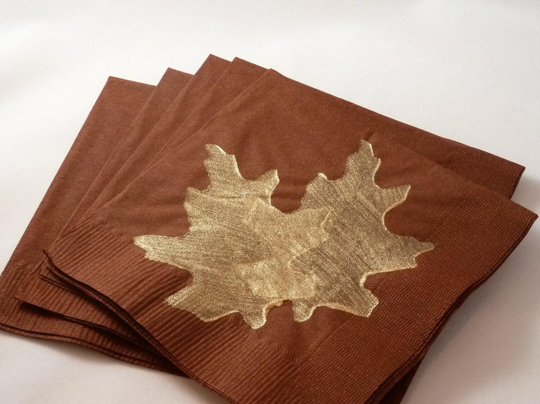 brown and gold leaf paper cocktail lunch dinner napkins. Black Bedroom Furniture Sets. Home Design Ideas
