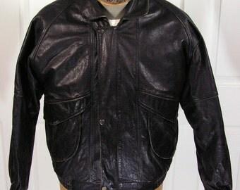 leather bomber jacket coat mens 42 large black cafe racer biker riding vintage zipper snap button