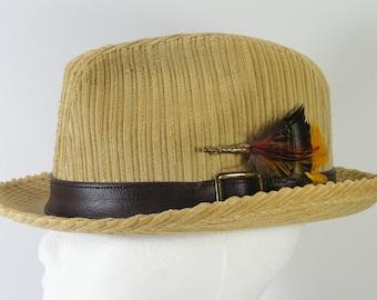 vintage corduroy fedora hat mens size 7 1/8 canyon tan rat pack frank sinatra dean martin
