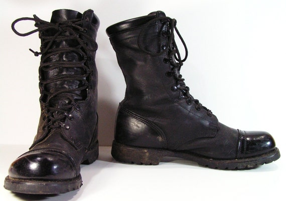 Black Leather Combat Boots - Cr Boot