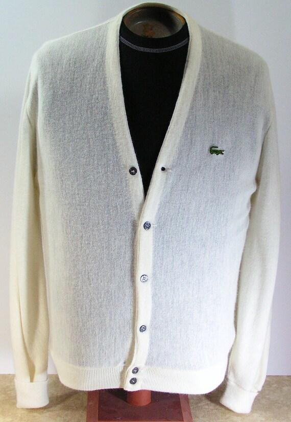 izod lacoste sweater mens large white cardigan L 1980s vintage izod of london